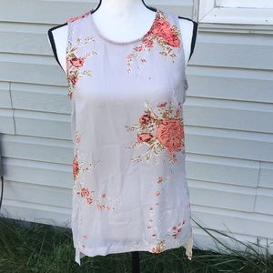 Philosophy Gray Floral Sleeveless Top Size S